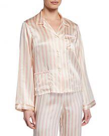Morgan Lane Ruthie Petal Stripe Pajama Top at Neiman Marcus