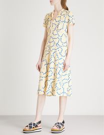 Morgan heart-print silk-satin midi dress at Selfridges