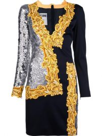 Moschino Long Sleeve Sequin Mirror Dress at Farfetch
