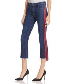 Mother Insider Striped Raw-Edge Jeans at Bloomingdales