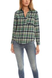 Mother Breezy Foxy Button Down at Blue and Cream