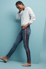 Mother The Looker High-Rise Striped Skinny Jeans at Anthropologie