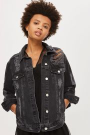 Moto Extreme Ripped Denim Jacket by Topshop at Topshop