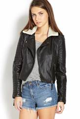 Moto Faux Leather Bomber at Forever 21
