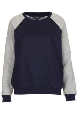 Moto Raglan Sleeve Denim Sweat at Topshop