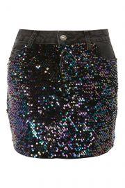 Moto Sequin Denim Mini Skirt  at Topshop