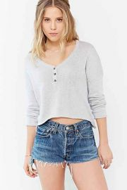 Mouchette Cropped Henley Top in Grey at Urban Outfitters