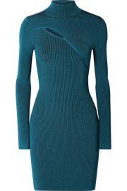 Mugler - Cutout ribbed stretch-knit turtleneck mini dress at Net A Porter