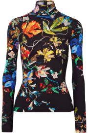 Mugler - Floral-print stretch-jersey turtleneck top at Net A Porter