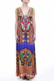 Multi-Color Boho Summer Maxi Dress with Slit by Shahida Parides at Shahida Parides
