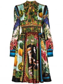 Multi-Fruit Printed Silk Shirtdress by Dolce Gabbana at Farfetch