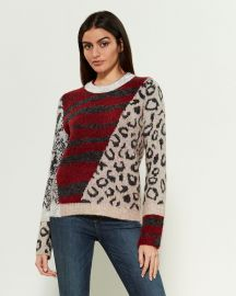 Multi Pattern Crewneck Sweater at Century 21