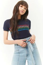 Multicolor Hearts Sweater-Knit Top at Forever 21