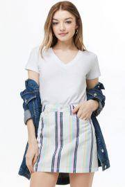 Multicolor Stripe Denim Mini Skirt by Forever 21 at Forever 21