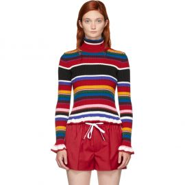 Multicolored Ruffles Striped Turtleneck Sweater at SSense