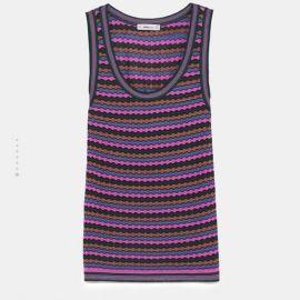 Multicolored stripe knit top by Zara at Zara