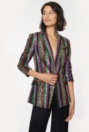 Multistripe Sequins Fitted Blazer by Milly at Milly