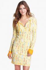 Munki Munki Hooded Henley Sleep Shirt in yellow at Nordstrom Rack