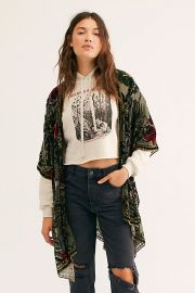 Muse Burn Out Velvet Kimono in Sage Combo at Free People