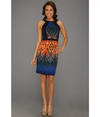 Muse Printed Twill Fitted Sheath Dress NavyMulti at 6pm