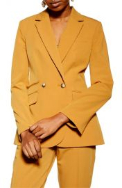 Mustard Double breasted blazer at Topshop