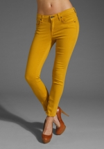 Mustard jeans from Parks and Rec at Revolve