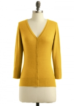 Mustard yellow cardigan like Zoes at Modcloth