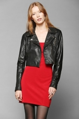 Muubaa Brixia Cropped Leather Biker Jacket at Urban Outfitters