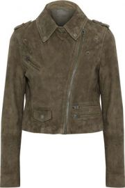 Muubaa Cropped Suede Biker Jacket at The Outnet