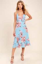My Finest Flower Periwinkle Blue Floral Print Wrap Dress at Lulus