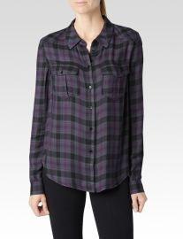 Mya shirt in velvet plum and black at Paige