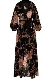 Myla - Kensington Gardens floral-print devor  -velvet robe at Net A Porter