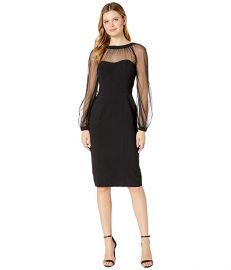 Mystic Crepe Cocktail Sheath with Mesh Illusion Sleeve at Zappos
