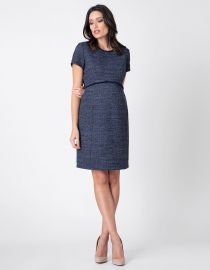 NAVY BLUE BOUCLe MATERNITY SHIFT DRESS at Seraphine