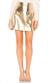 NBD Maanasa Leather Skirt in Gold from Revolve com at Revolve