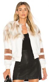 NBD The Bella Faux Fur Bomber in Ivory  amp  Blush from Revolve com at Revolve