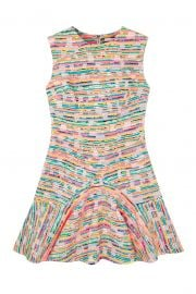 NEON WEAVE V FLARE MINI DRESS at By Johnny.