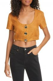 NICHOLAS Lou Linen Crop Top   Nordstrom at Nordstrom