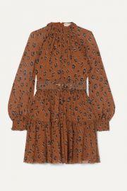NICHOLAS - Belted ruffled leopard-print silk-chiffon mini dress at Net A Porter