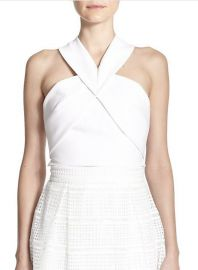 NICHOLAS - Origami-Paneled Ponte Cropped Top in White at Saks Fifth Avenue