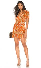 NICHOLAS Floral Ruffle Cascade Dress in Orange from Revolve com at Revolve