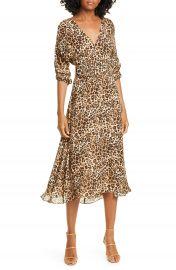 NICHOLAS Leopard Print Belted Silk Midi Dress   Nordstrom at Nordstrom
