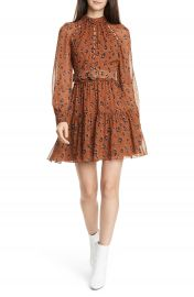 NICHOLAS Leopard Print Long Sleeve Belted Silk Minidress   Nordstrom at Nordstrom