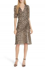 NICHOLAS Ruched Leopard Print Silk Dress   Nordstrom at Nordstrom