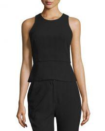 NICHOLAS Sleeveless Lace-Up-Back Peplum Top  Black at Neiman Marcus