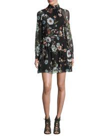 NICHOLAS Vintage Floral High-Neck Mini Dress at Neiman Marcus