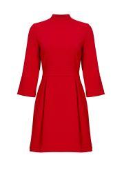 NICOLE MILLER RED ARTELIER MOCK NECK DRESS at Rent The Runway