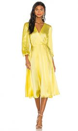 NONchalant Wrap Silk Midi Dress in Yellow from Revolve com at Revolve