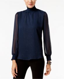 NY Collection Metallic-Detail Turtleneck Blouse in Navy at Macys