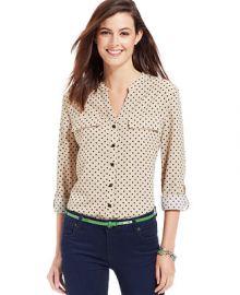 NY Collection Polka-Dot Roll-Tab-Sleeve Button-Down Shirt - Women - Macys at Macys